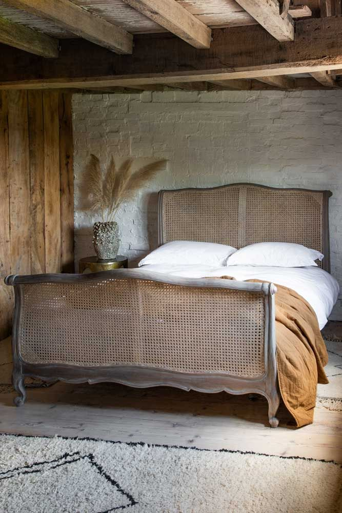 King Size Roll Top Woven Cane Bed in 2020 Wooden king