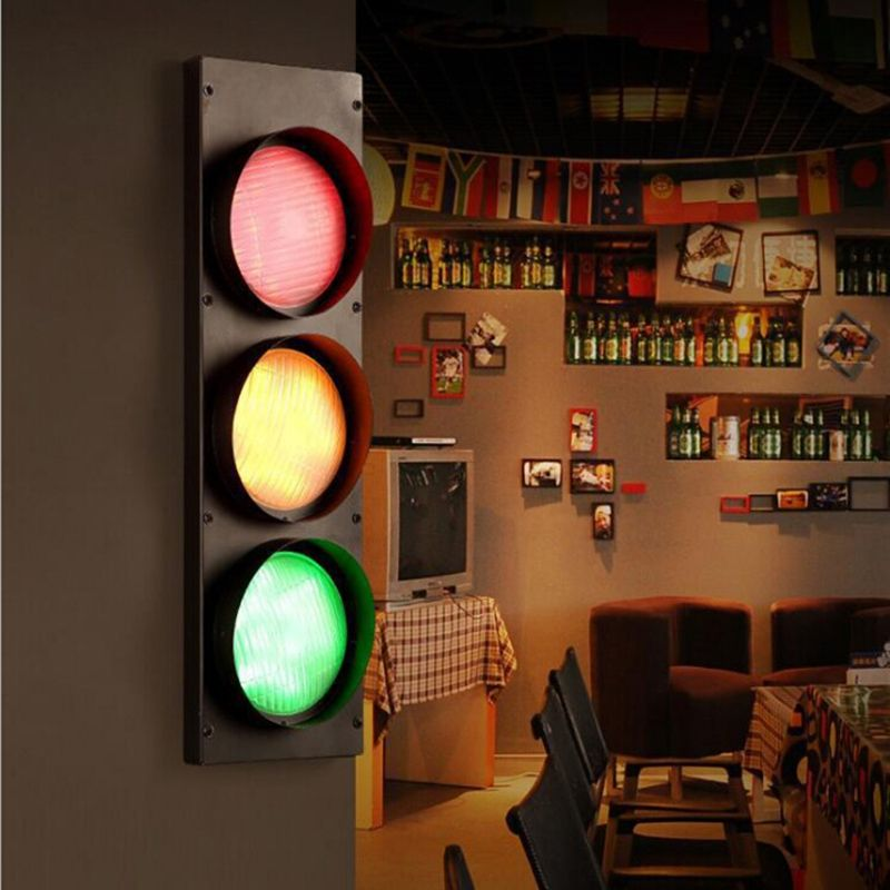 Modern Creative Traffic Lights Led Decoration Sconce Fixtures Wall Lights For Coffee Bar Dinin Industrial Wall Lights Led Light Fixtures Retro Lighting Fixture