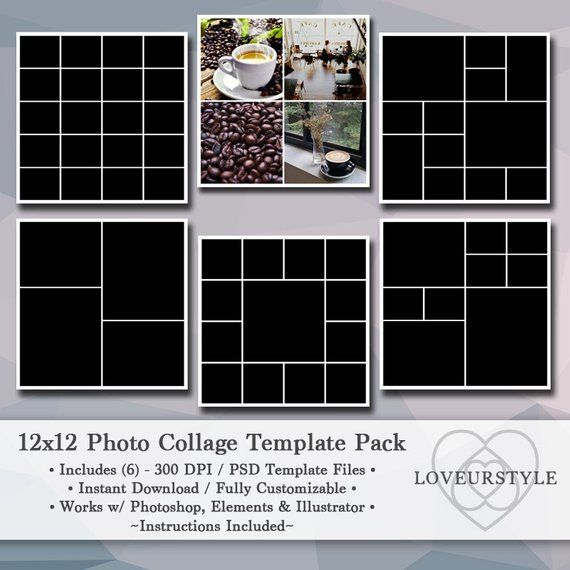 12x12 Digital Photo Collage Template Pack Scrapbook Etsy Photo Collage Template Collage Template Photo Collage