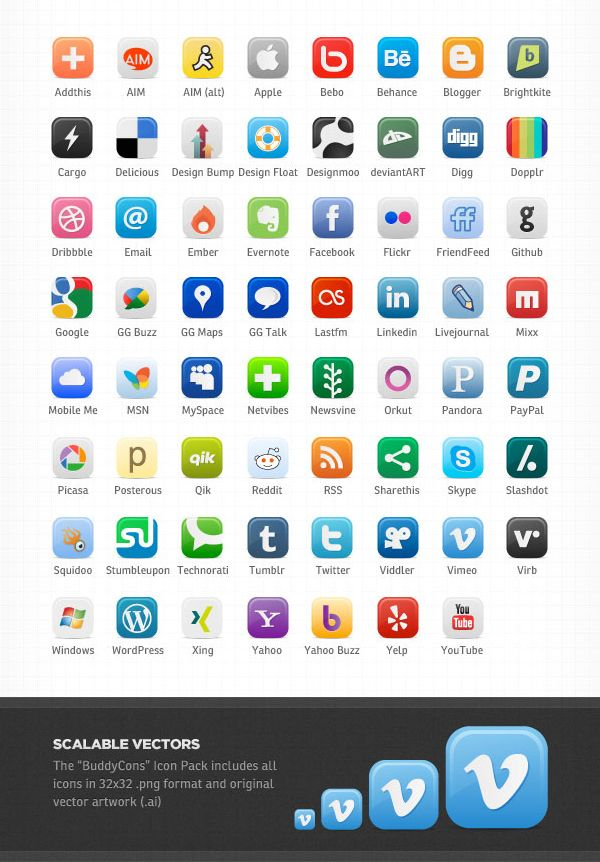 social media icons with names Social media icons free