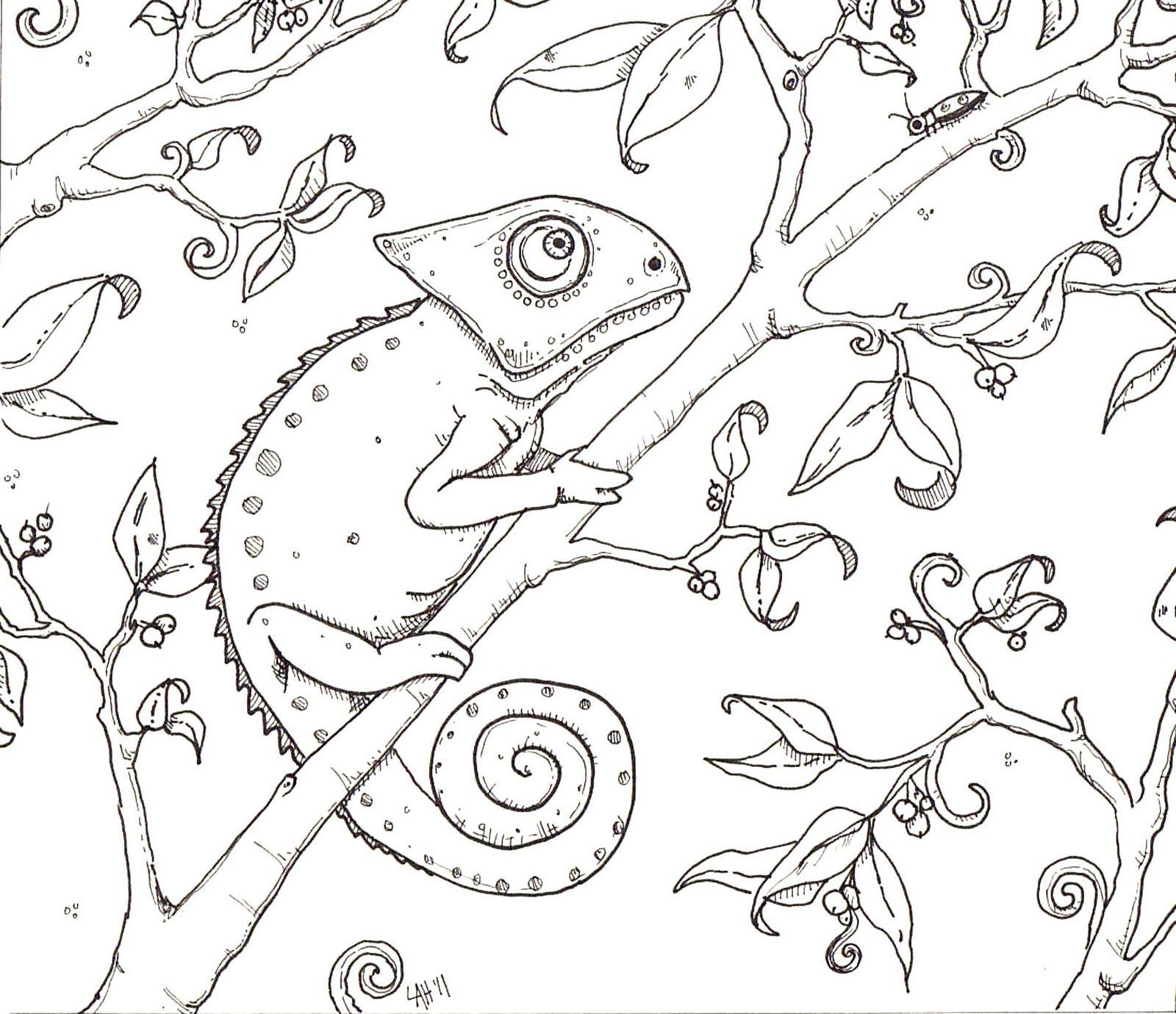 Kameleon Kleurplaat