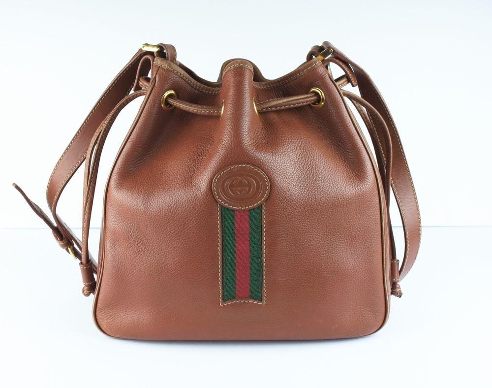 Vintage Gucci Brown Leather Drawstring Bucket Handbag Purse Bag Rare Htf Gucci Vintage Bag Vintage Gucci Bucket Handbags