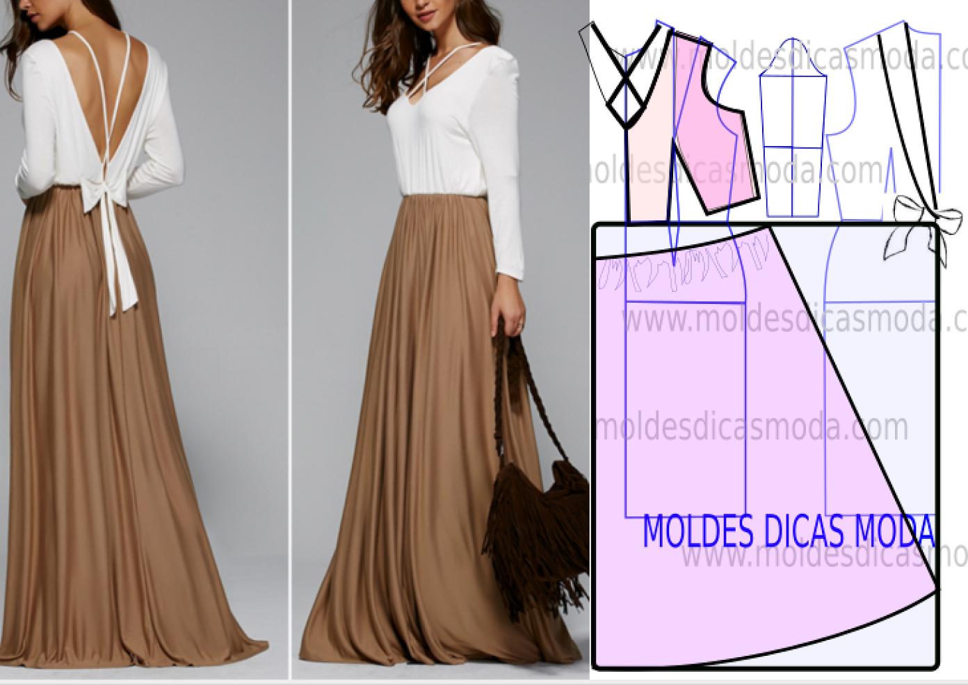 Vestido branco e dourado | Moldes Dicas Moda | Bloglovin'