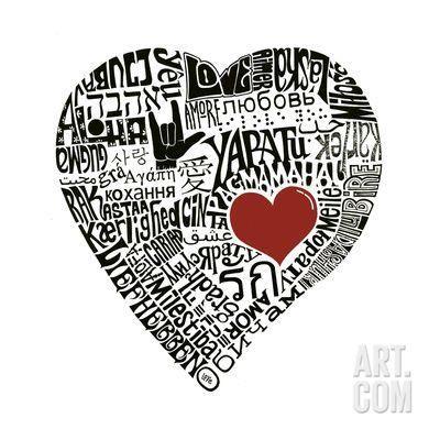 Love in 44 Languages Art Print at Art.com