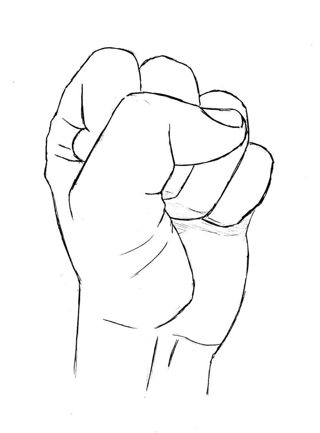 How To Draw A Hand Clenched Fist And Open Palm Drawing Fist