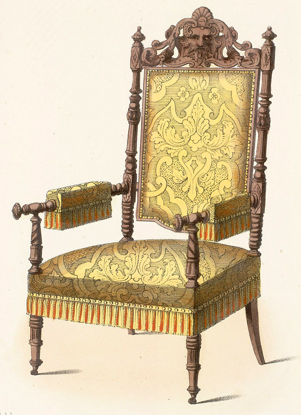 Superbe Renaissance Revival Arm Chair With Turned Legs And The Use Of Manchettes.  Renaissance Motifs Are Applied To The Modern Furniture Forms.