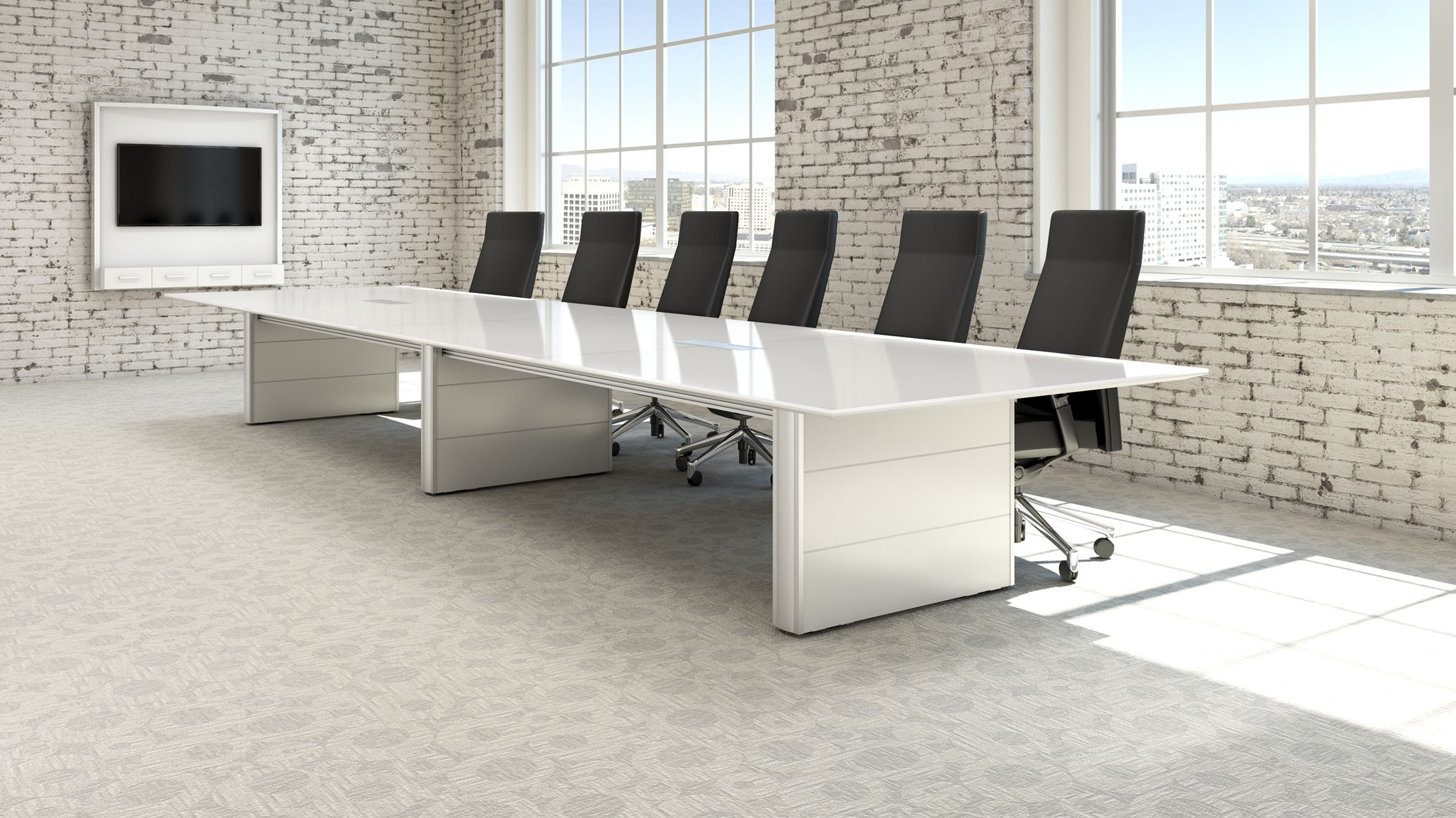 Enwork back painted glass Concurrence Conference Table