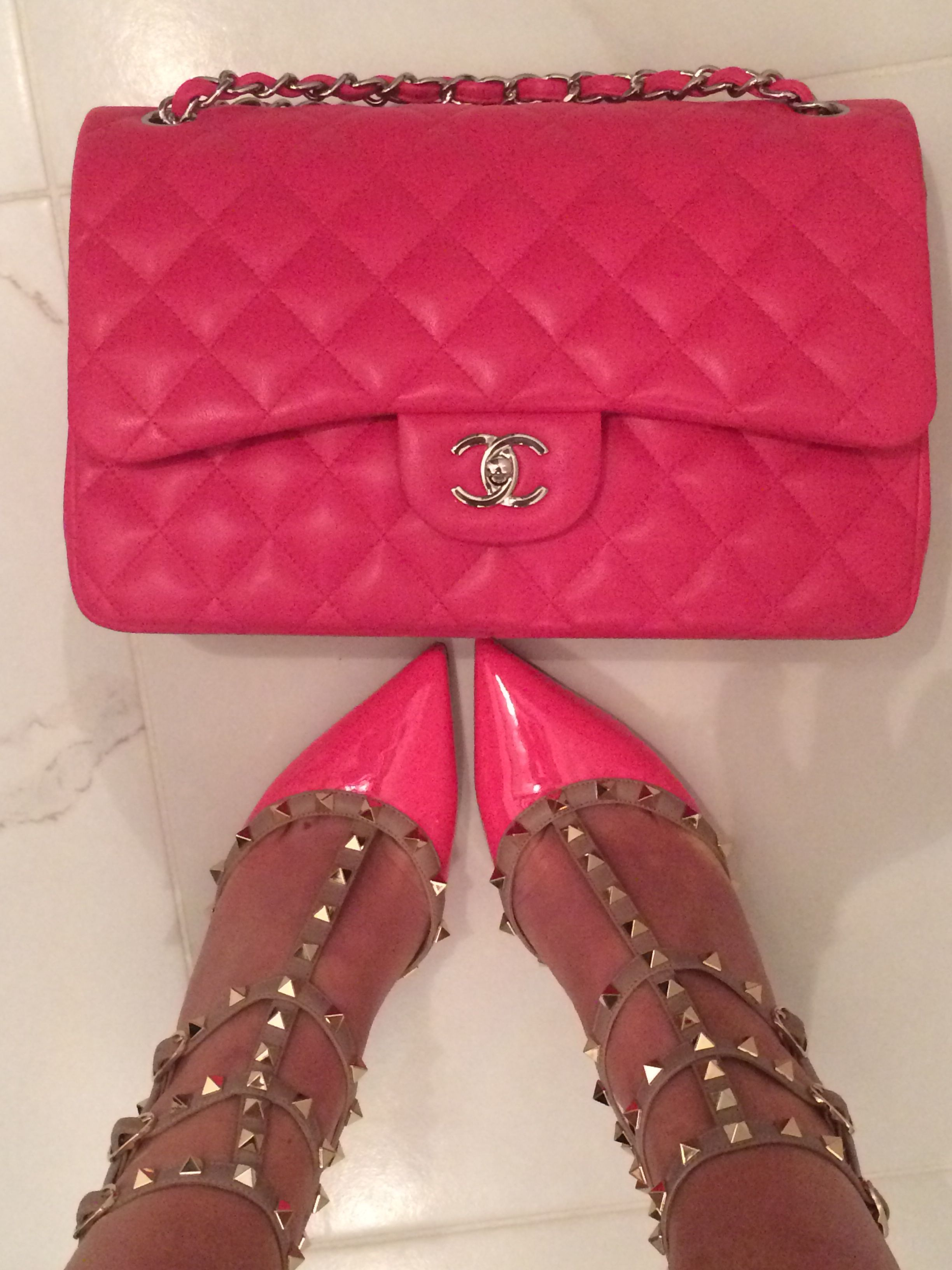3d7f76adb3d20f Chanel Jumbo Flap Valentino Rockstud Hot Pink Everything | My Style ...