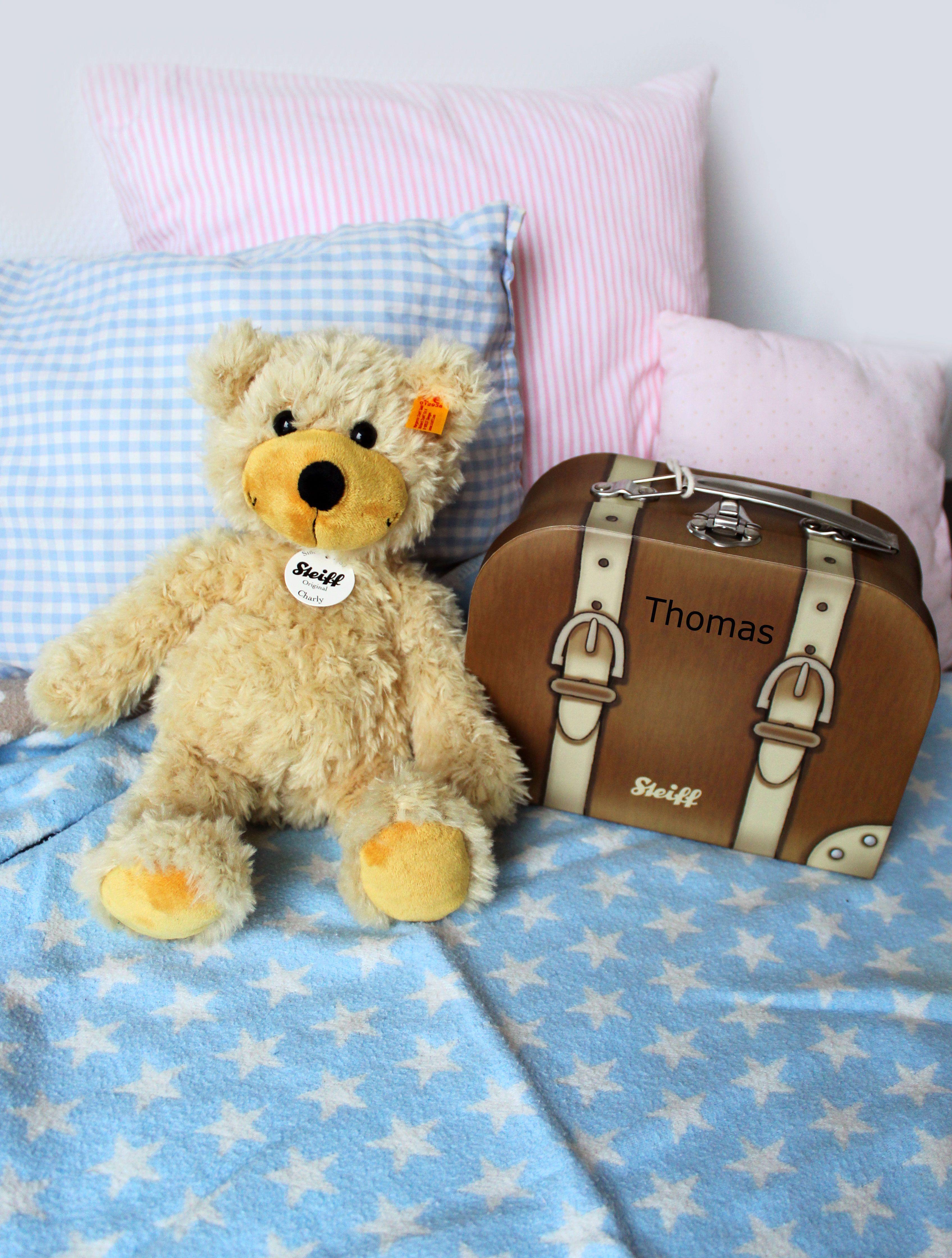 Steiff Teddy im Reisekoffer mit Namensgravur: Geschenk zur Geburt ...