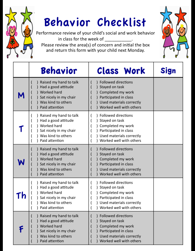 My weekly behavior checklist for students  social and academic performances in class designed with  grades mind also rh pinterest