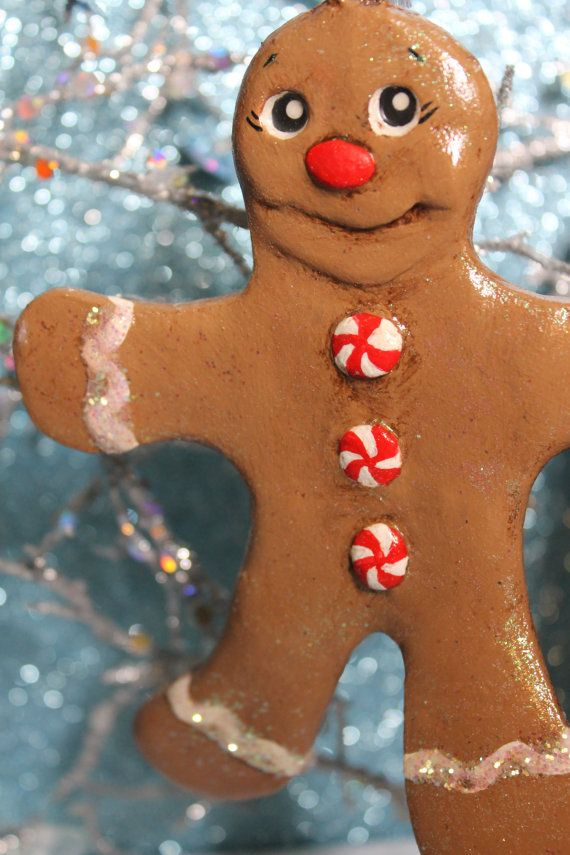 Peppermint Gingerbread Man Paper Clay By Bzlittlechristmaself My