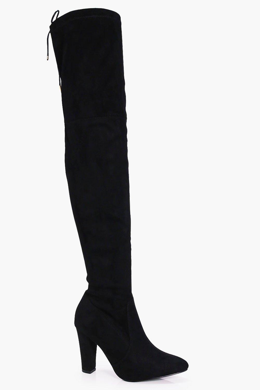 Block Heel Thigh High Boots | boohoo