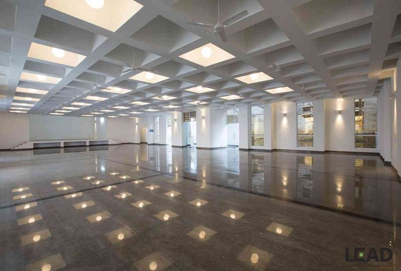 Inside Of The Banquet Hall With Coffer Ceiling Roof Designed By Lead Architects Bangalore