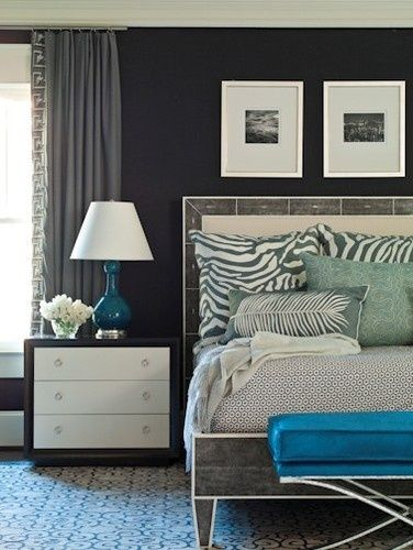 Love The Dark Charcoal Walls Still Feel S Bright But Has A Great Mood Bedroom