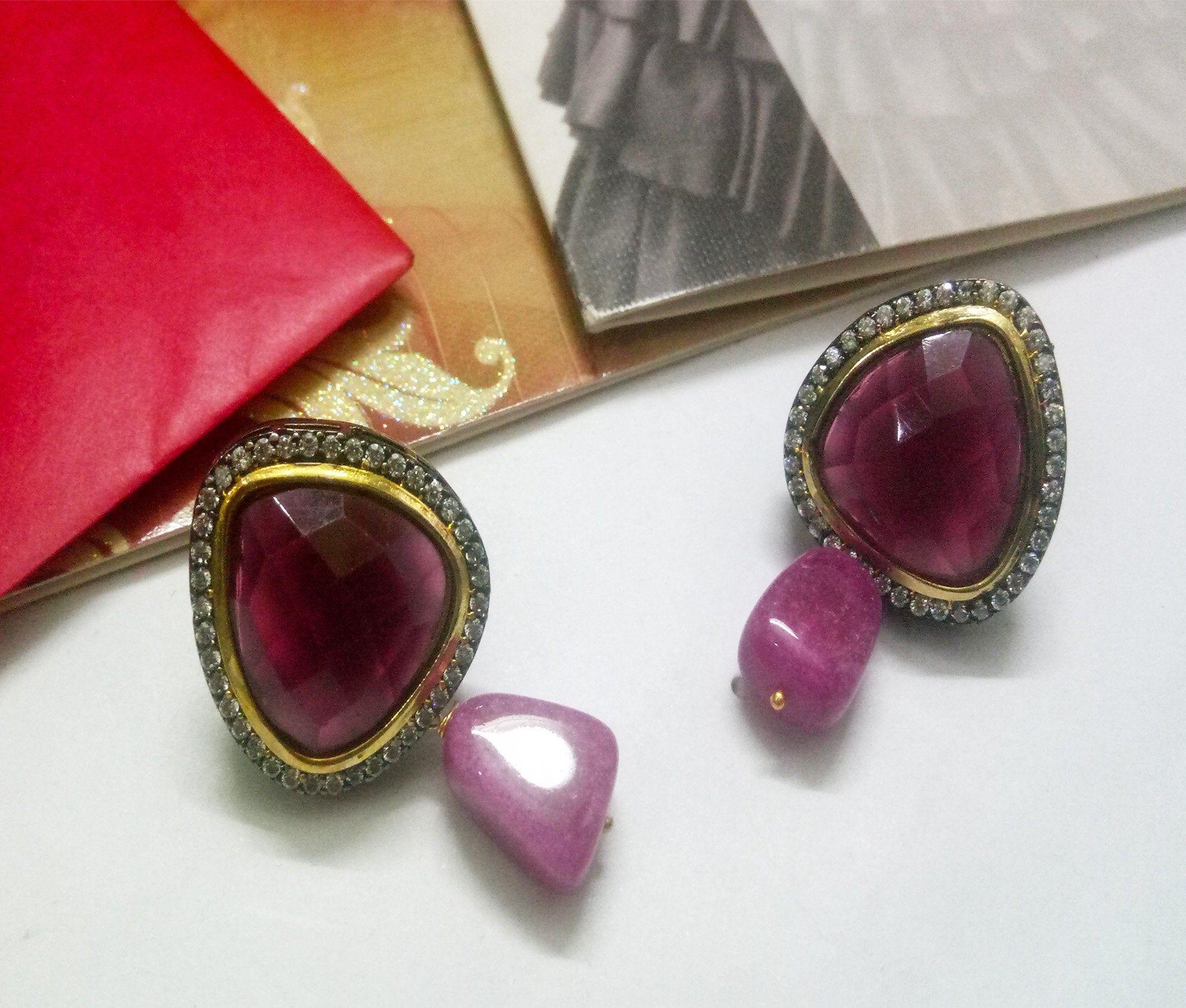 Gold and purple zirconia earrings and tikka set Indian bridal kundan Pakistani jewelry