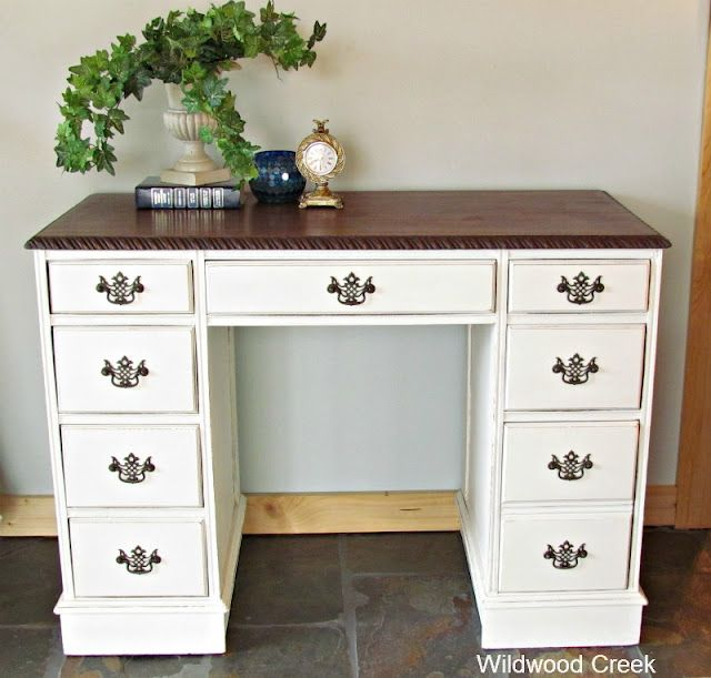 I Ve Got A Small Dresser In A Guest Room That Would Look Much Nicer Painted White Than The Condition It S In Now Desk Makeover Refinished Desk Furniture