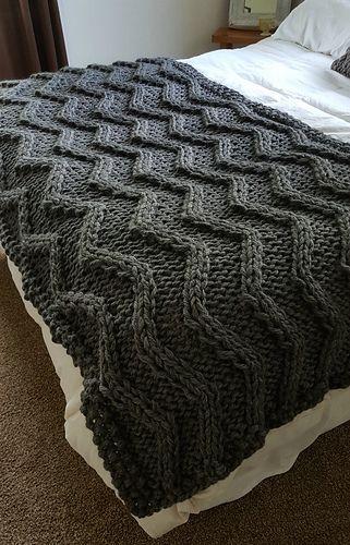 Chevron Cable Knit Blanket pattern by Allison Huddleston ...
