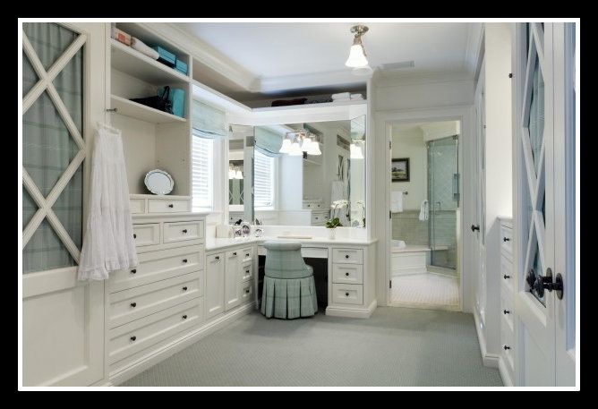 Walk In Closet Off The Bathroom With A Makeup Vanity With Plenty