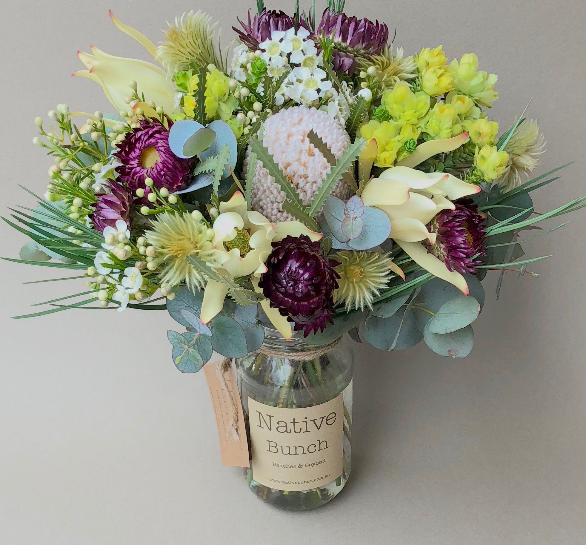 Native Flowers In A Jar 30 Free Delivery Sydney Northern Beaches North Shore Eastern Suburbs Banksias Ye Flower Delivery Australian Native Flowers Flowers