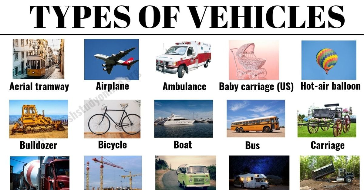 Types Of Vehicles List 30 Vehicle Names With Examples And Esl