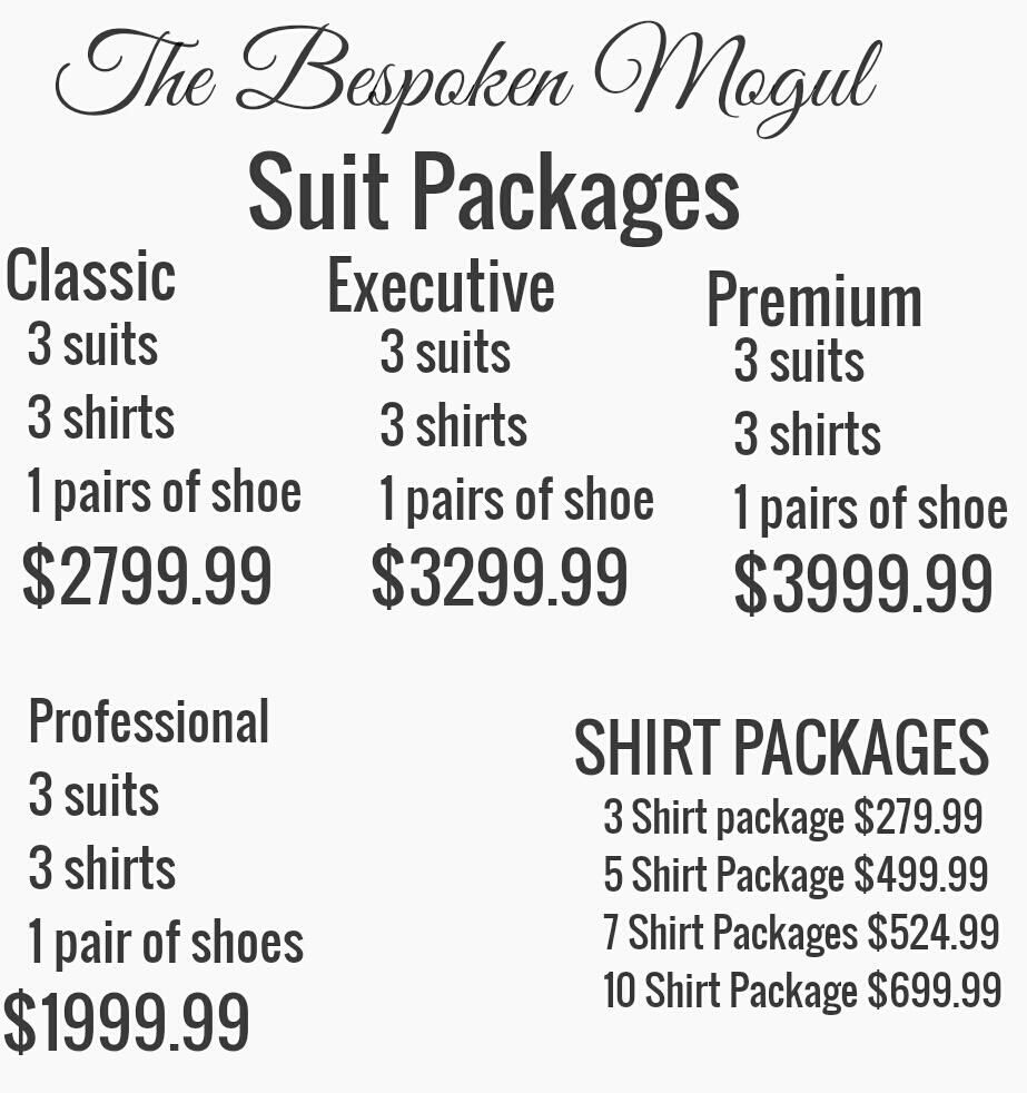 Email me for your fittings at errolb@thebespokenmogul.com
