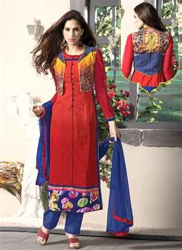 Straight Long Jacket Style Maroon Salwar Kameez Prod Buy Indian