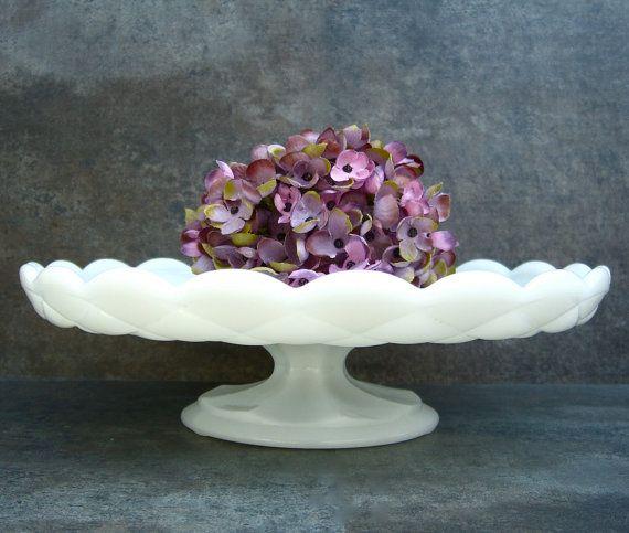 Milk Glass Cake Stand Footed Pedestal Quilted by SilverAndBone