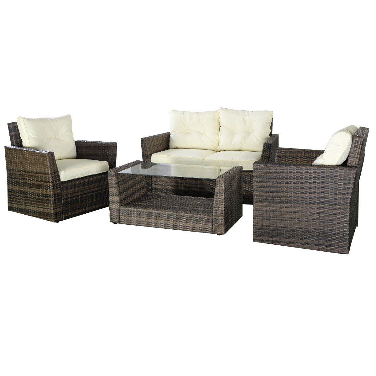 Amazon.com : Goplus Patio Lawn Cushioned Seat Rattan Sofa Furniture ...