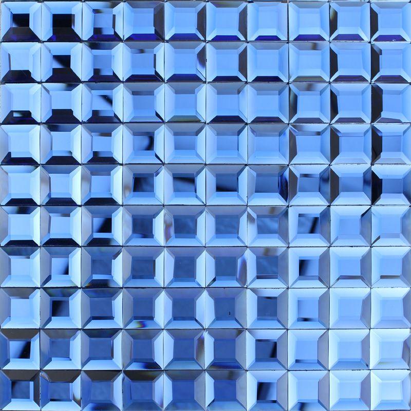 Blue glass mosaic tile backsplash pyramid 3d shower wall tiles design  seamless crystal glass cheap tiles. Blue glass mosaic tile backsplash pyramid 3d shower wall tiles