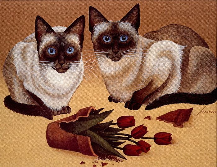 Lowell Herrero 1921 2015 American With Images Cat Painting Cats Illustration Cat Artwork