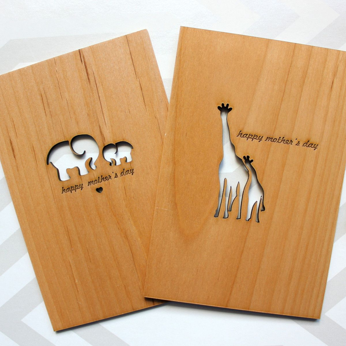 Certified Sustainable Wood Laser Engraved Cards Home