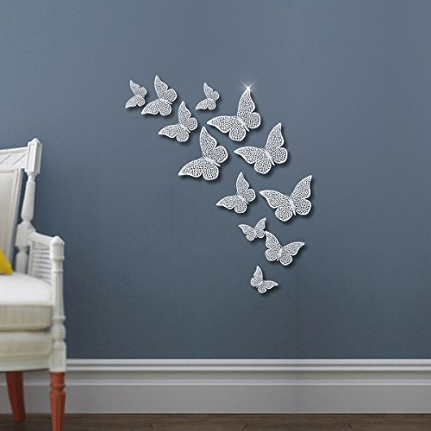 Déco Murale Diy Fly Spray Silver Butterfly Mural Decor 36pcs Removable Hollow Out