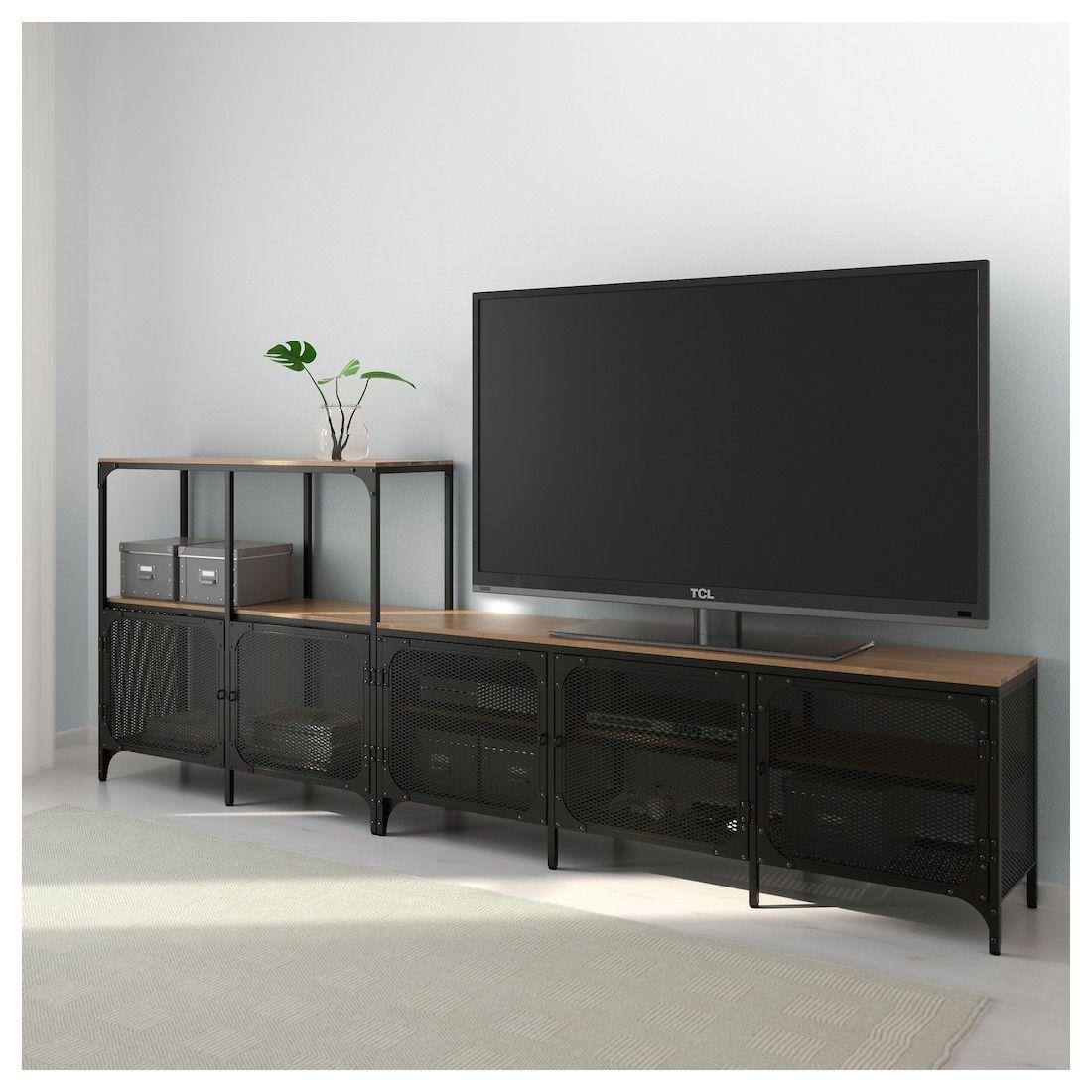 TV-Möbel, Kombination FJÄLLBO schwarz in 2019   For the Home   Tv ...