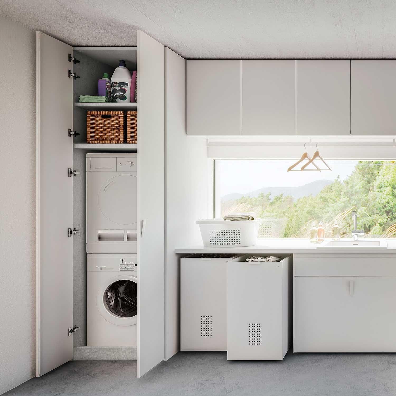 Machine À Laver Et Sèche Linge Intégré armoire pour lave-linge et sèche-linge wide - diotti