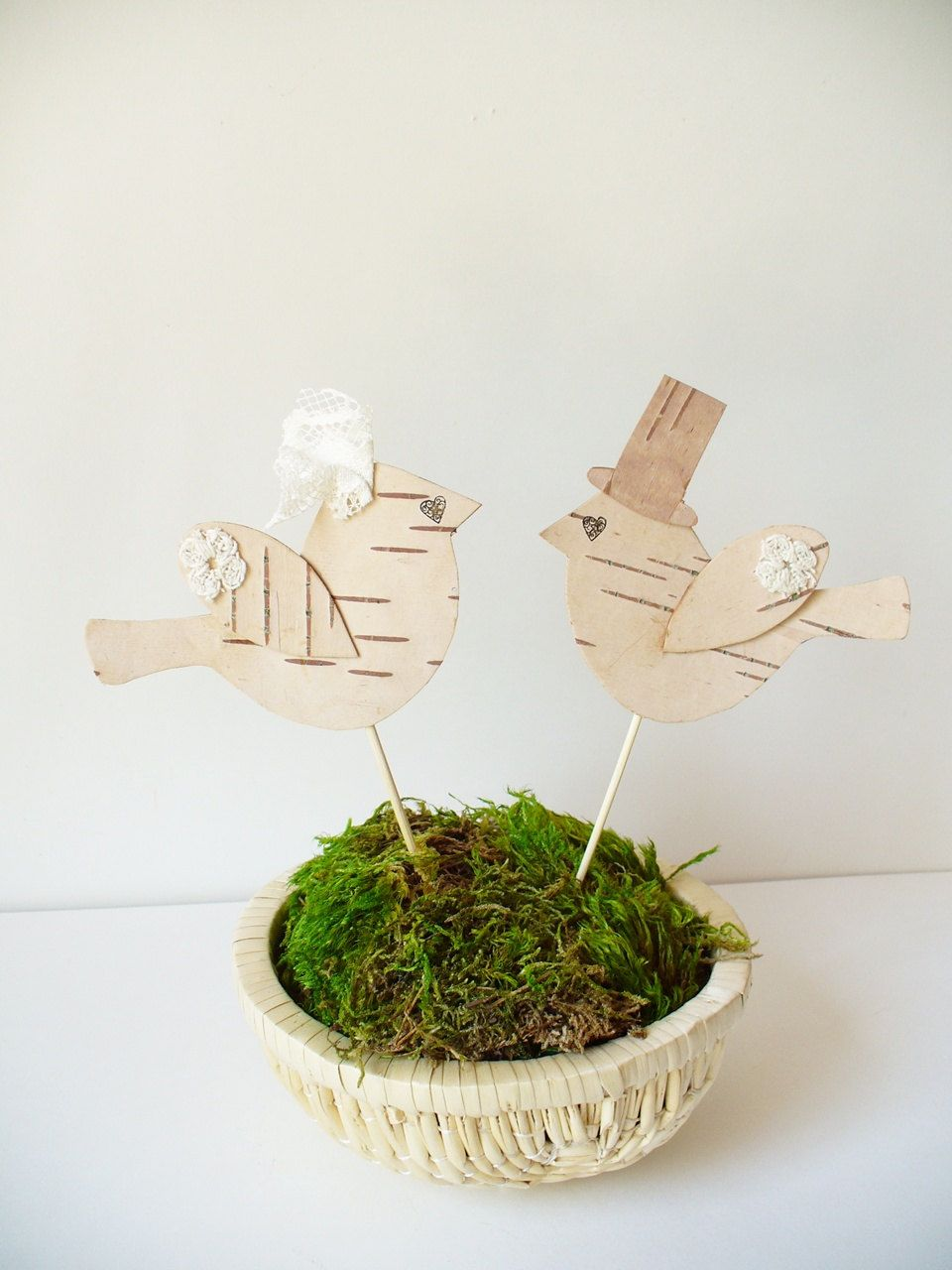 Wedding cake topper birds rustic country woodland farmhouse cottage
