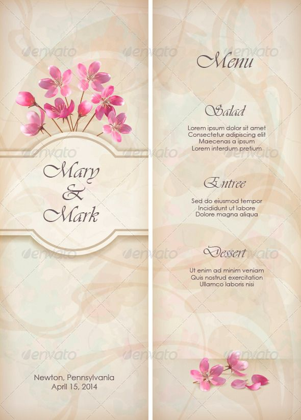 Floral Decorative Wedding Menu Template Design  Fonts Pink