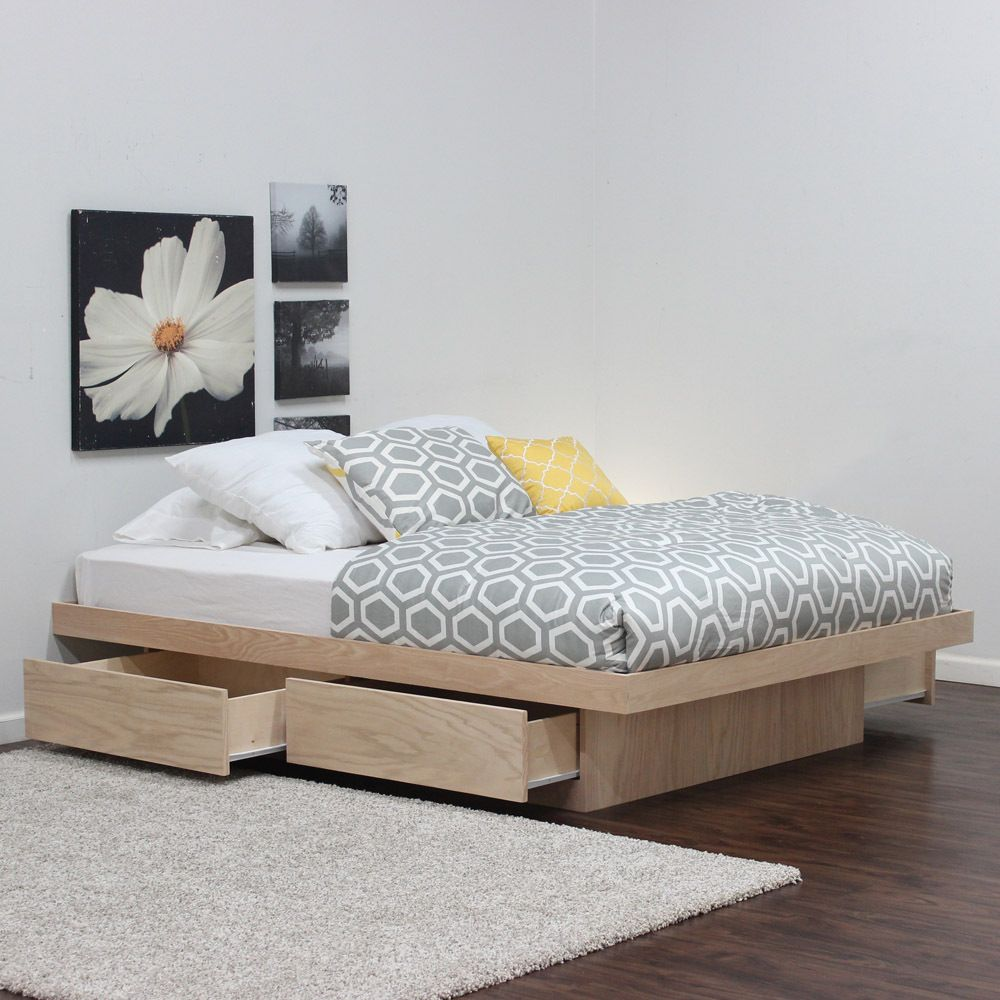 queen platform bed with 4 drawers on tracks oak wood platform