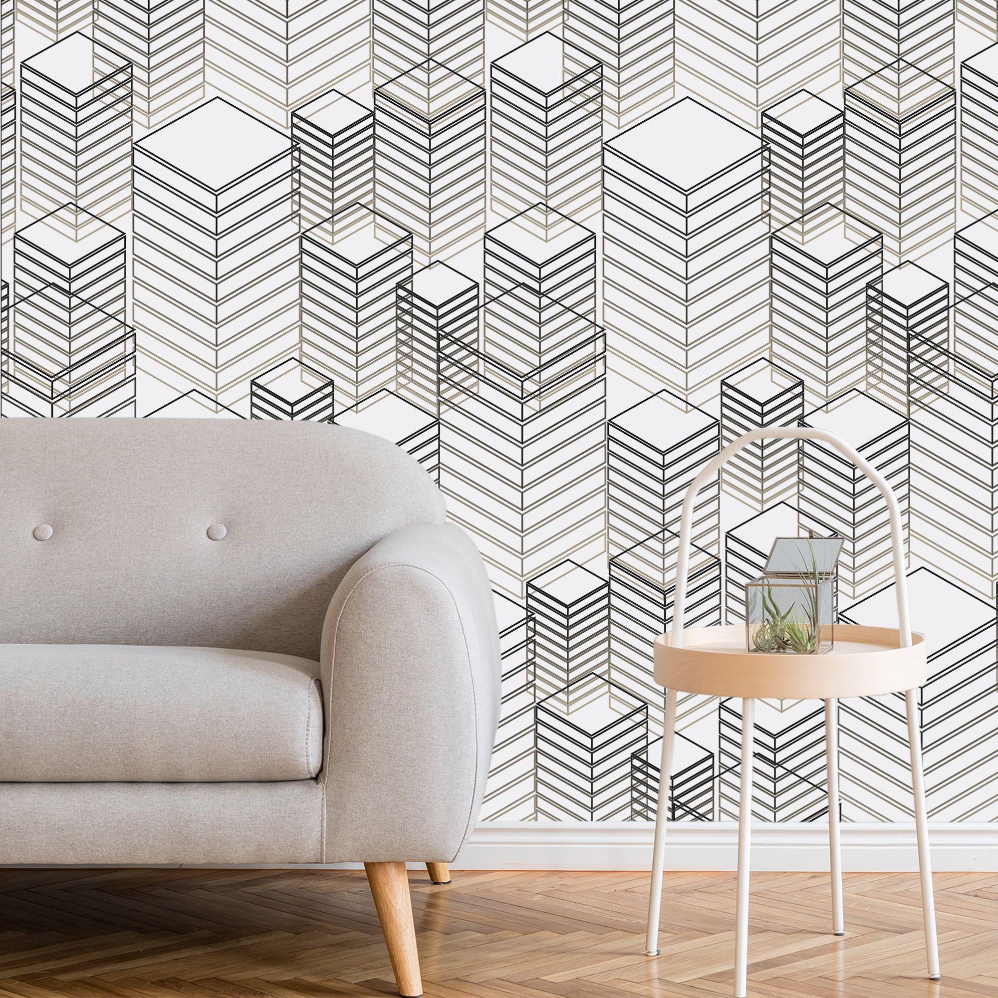 Removable Wallpaper Peel And Stick Wallpaper Wall Decor Etsy Wallpaper Walls Decor Removable Wallpaper Geometric Wall Decor