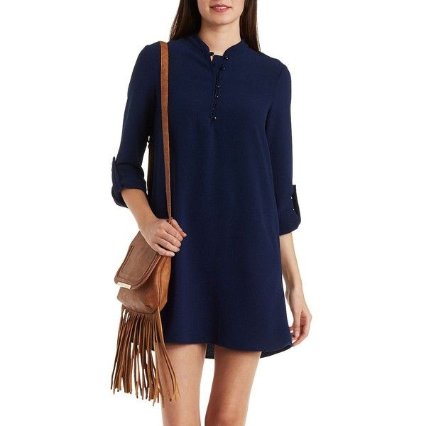 Charlotte Russe Navy Gauzy Ruffle Shift Dress by Charlotte Russe at... ($29) ❤ liked on Polyvore featuring dresses, navy, short sleeve dress, navy blue dress, blue dress, short dresses and hi low dress