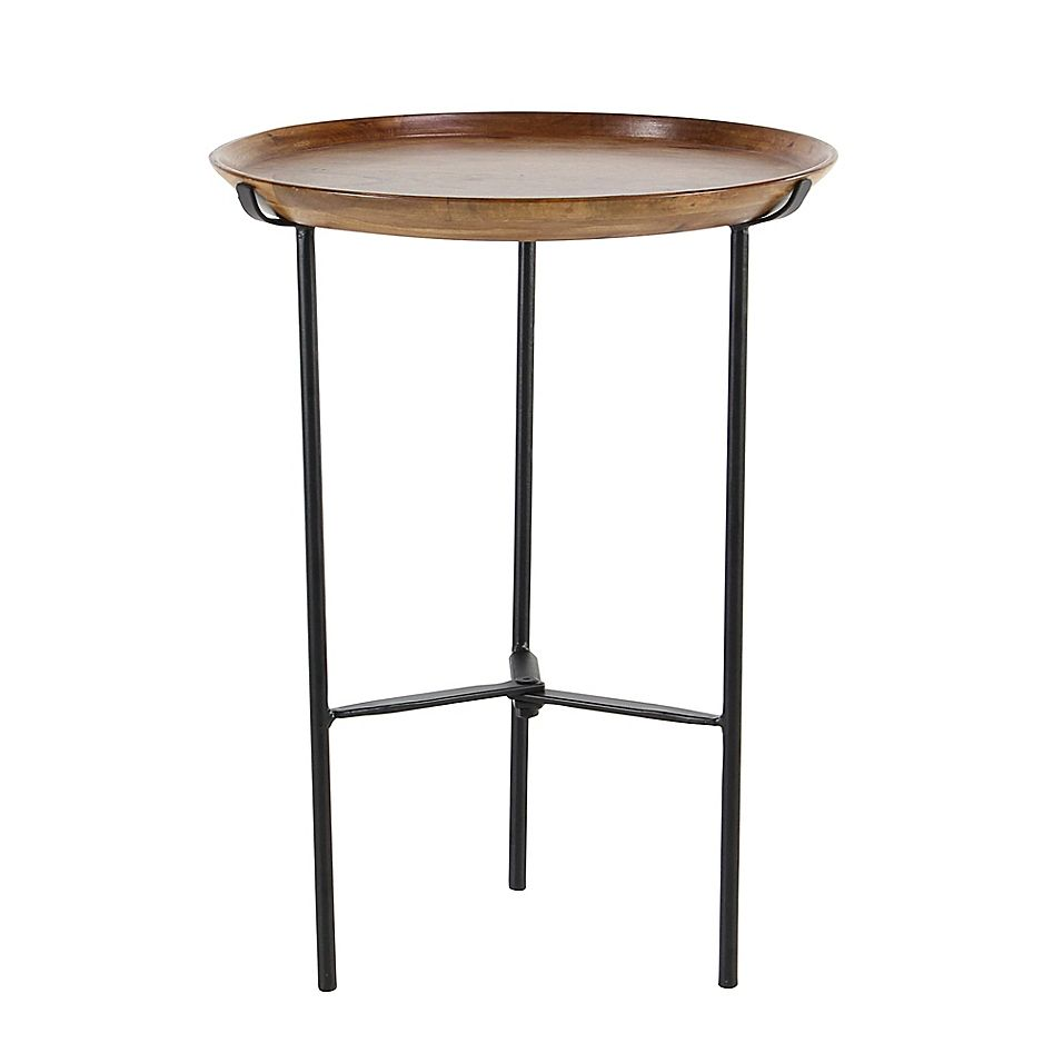 "Ridge Road Décor 16"" Round Accent Table In Brown"
