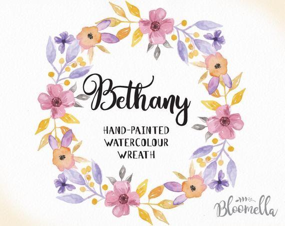 Aquarell Blumenkranz Clipart – Bethany handgemalte INSTANT Download – Pastell PNG & JPEG rosa blaue Blumen Digital Art hübsche Girlande   – Products
