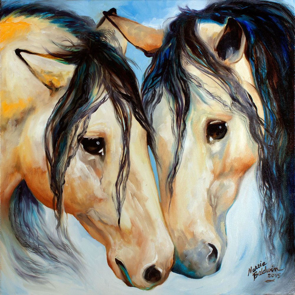 m baldwin original buckskin wild horse equine oil painting