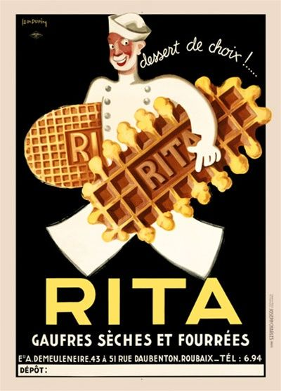 Rita By Dupin 1933 France Beautiful Vintage Poster Reproductions This Vertical French Culinary Food Poster Features A Man Dress In White With A Hat Walking With A Giant Cookie Under