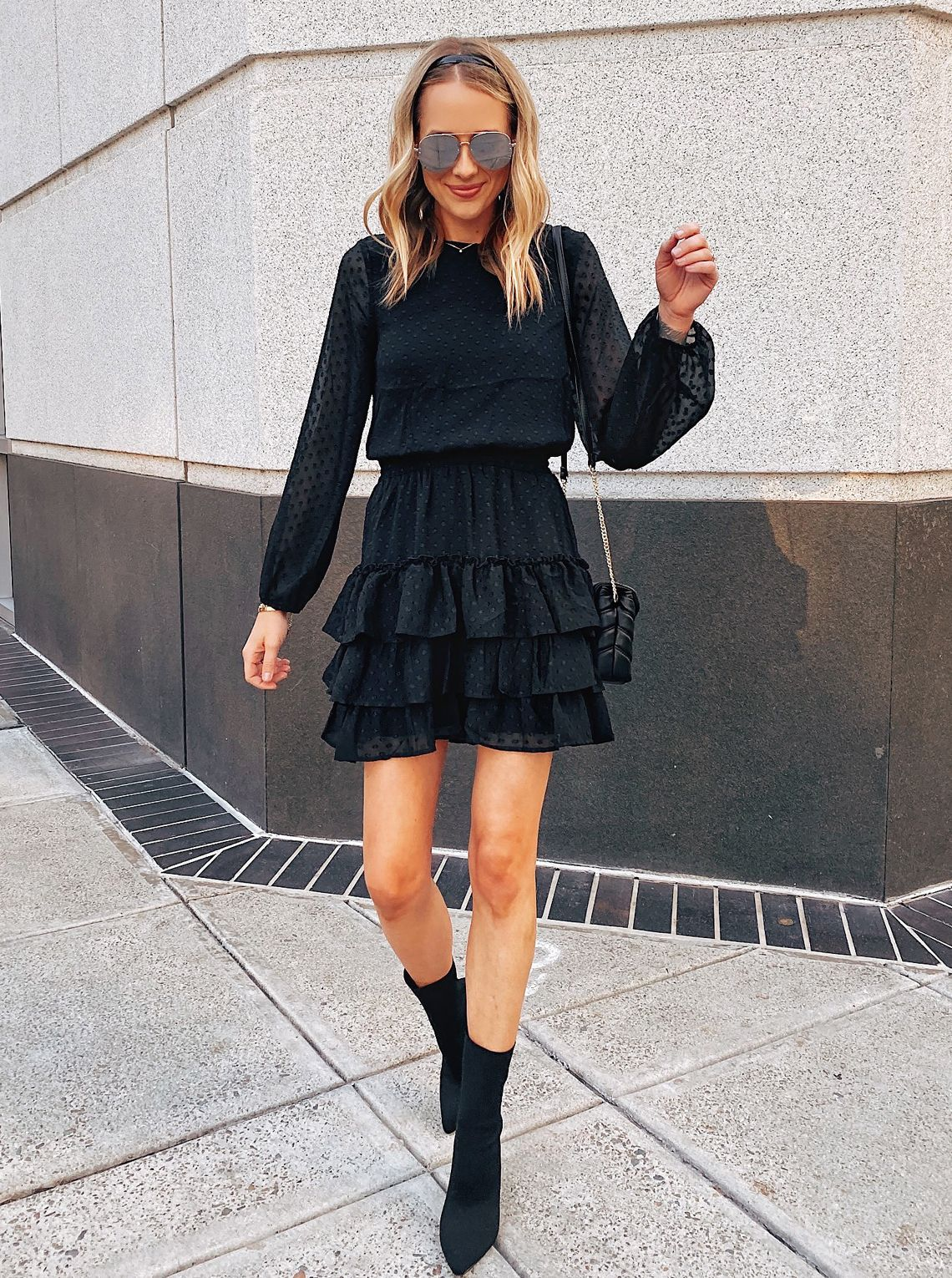 This Is The Perfect Little Black Dress For The Holidays The Sheer Sleeves And The Tiered S Black Dresses Casual Little Black Dress Perfect Little Black Dress [ 1530 x 1140 Pixel ]