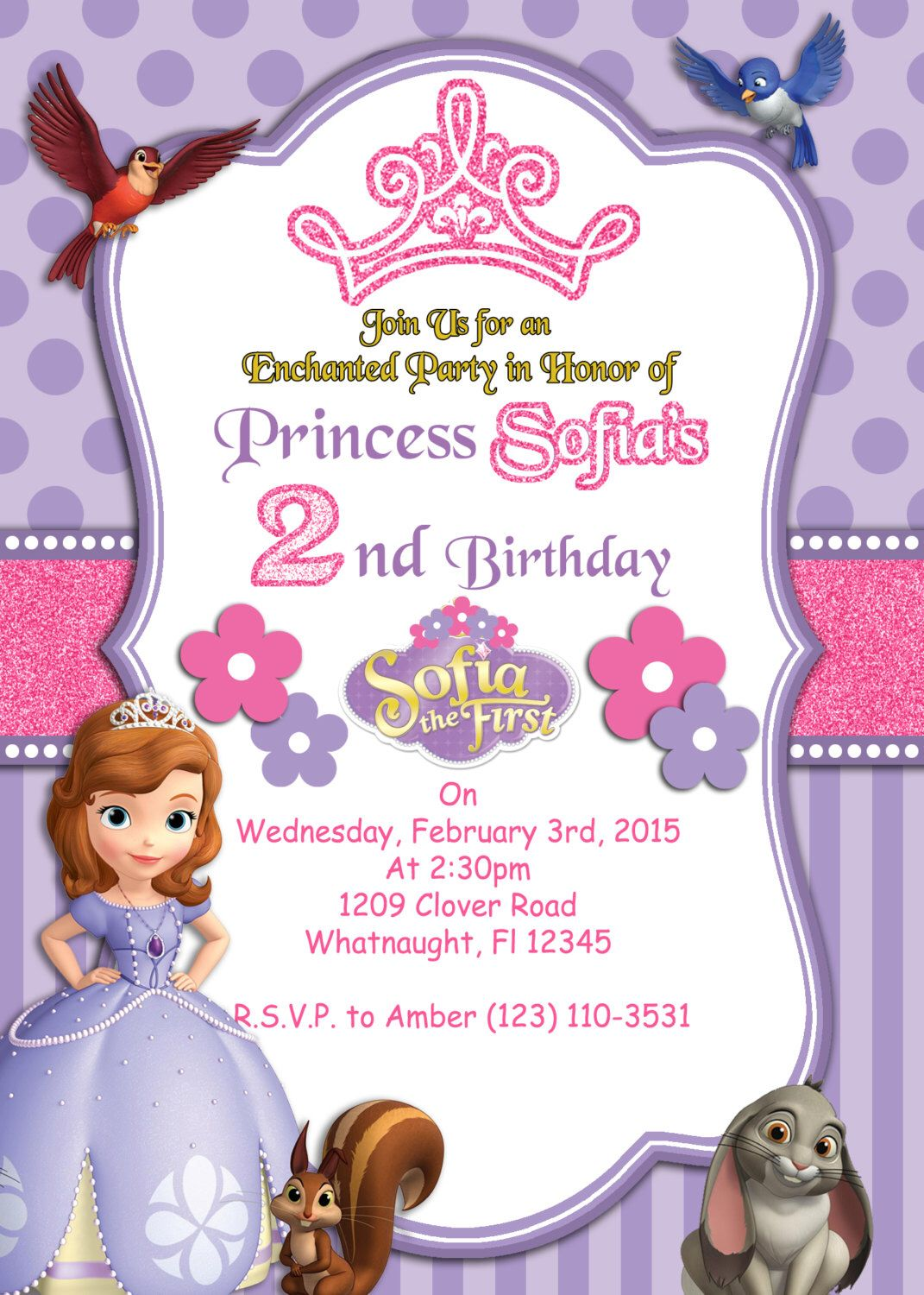 PRINTABLE INVITATION, Sofia the First Invitation, Sofia the First ...