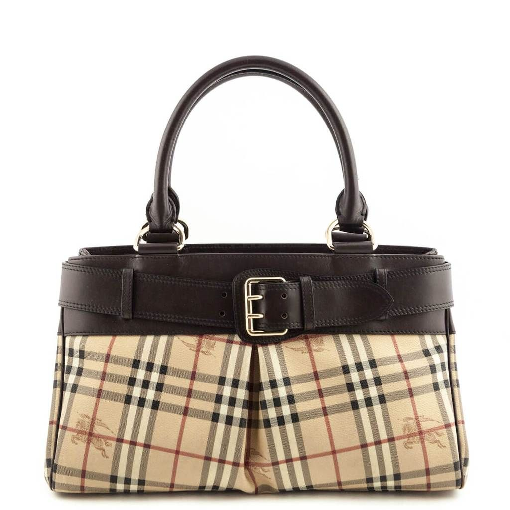 Burberry Haymarket Check Leather Trimmed Buckle Tote Love That Bag Preowned Authentic Designer