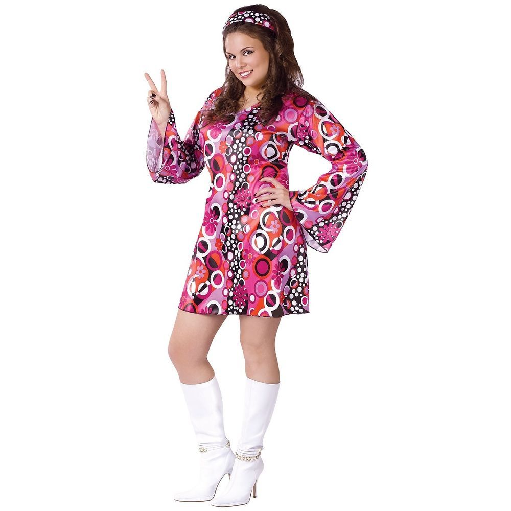 Dancer Costume Adult 60s Girl Mod 70s Disco Halloween Fancy