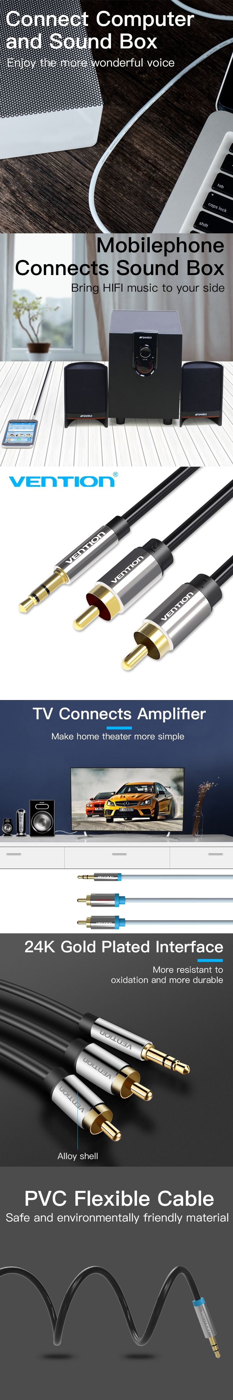 hight resolution of vention 3 5mm rca audio cable jack to 2 rca aux cable for edifer home theater