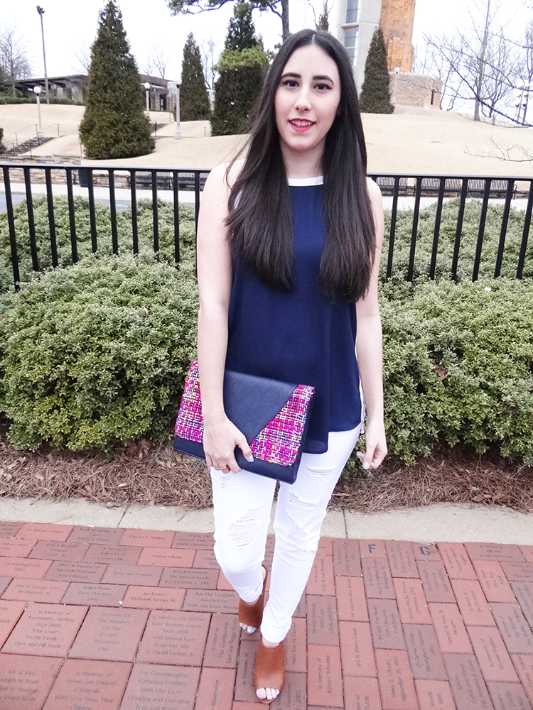 bright and navy woven clutch