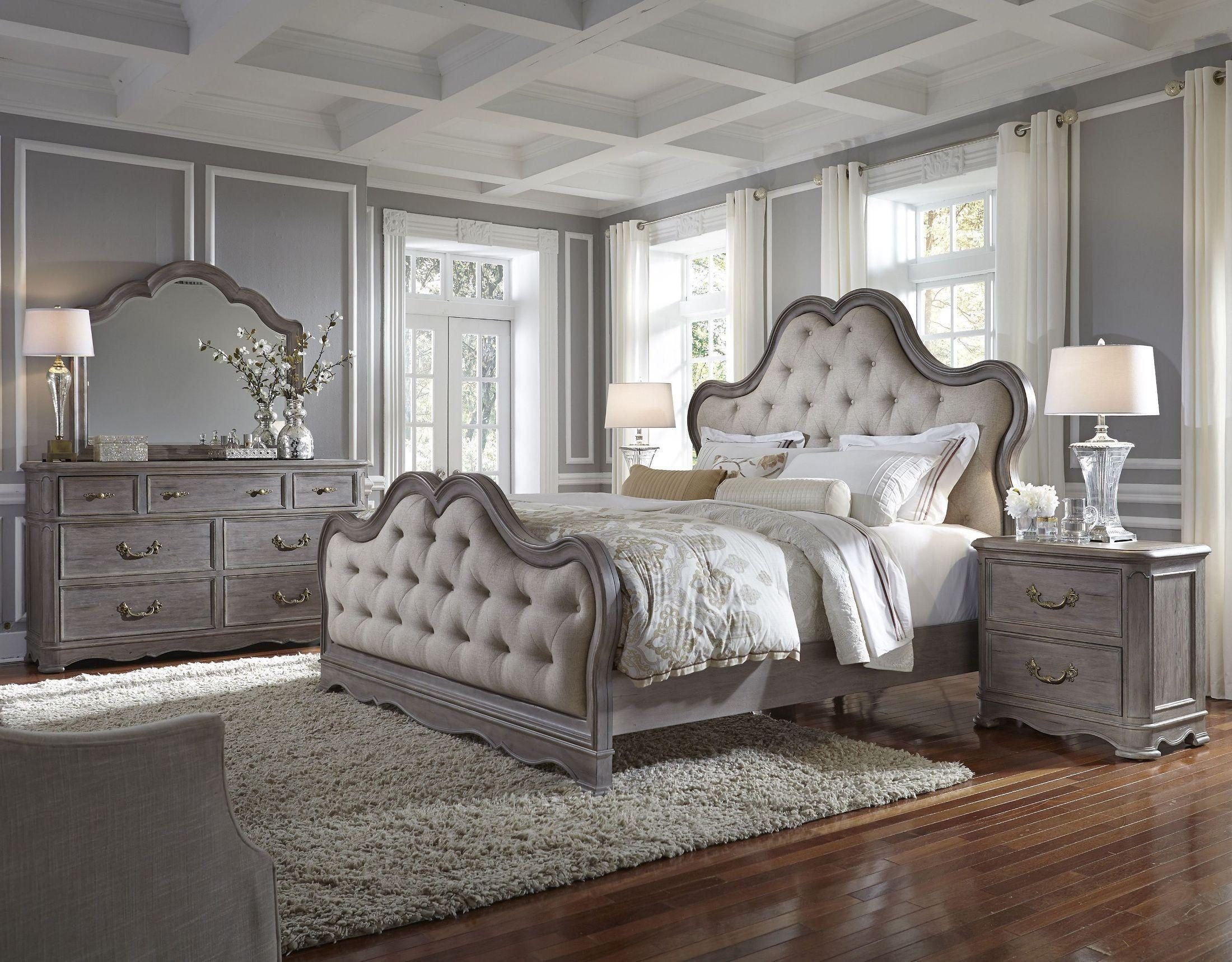 Palmer Warm Weathered Grey Upholstered Panel Bedroom Set Upholstered Bedroom Set Upholstered Bedroom Bedroom Set